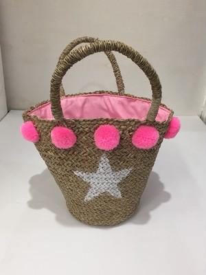 ポンポンバッグ 星 ストローかごバッグ (S) ピンク
