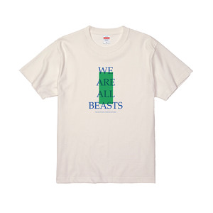 """We Are All Beasts"" T-Shirt / Vanilla White × Blue × Green"