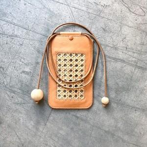 竹細工とヌメ革のモバイルポシェット / tricot トリコ