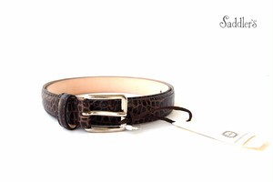 サドラーズ|Saddler's|クロコダイル型押しレザーベルト|EG04|ダークブラウン|90