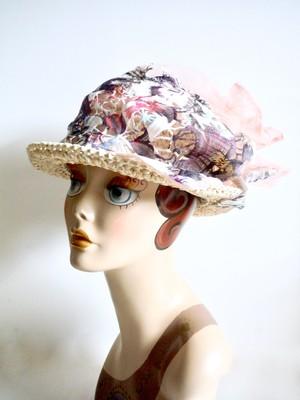 <商談中>レースとチュールのカンカン帽    M56.5〜58.5cm