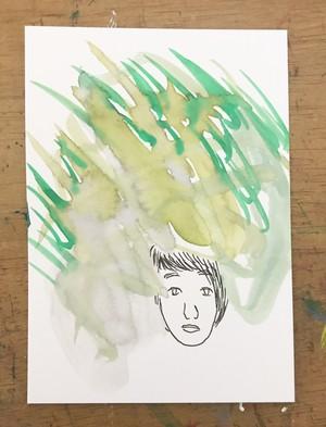 直筆ミニ絵画【喧草の中で、耳を澄ませば】