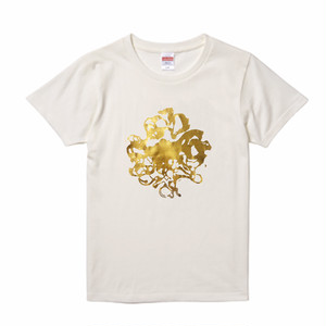 【UNKNOWN POWER】Women's, Gold print T-shirt A / ウィメンズ, ゴールドプリントTシャツ A