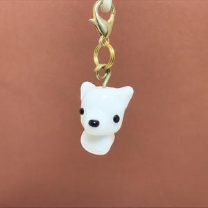 白犬 動物とんぼ玉チャーム