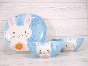 陶器製イースターうさぎの飾り皿3点セット