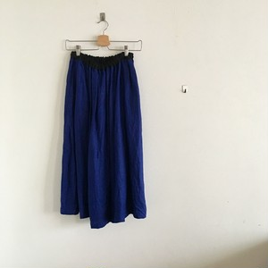 color linen gather Skirt ブルー