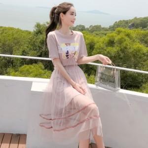2点セット シャツワンピース シースルー フレアースカート サマードレス 半袖 ロング ラウンドネック 2色 ブルー ピンク カジュアル