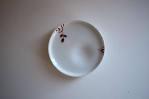 皓洋窯|豆皿 小花 赤
