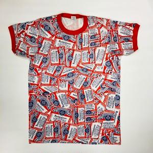 バドワイザー 総柄 リンガー Tシャツ  BUDWEISER REPLICA T-Shirts(M) アウトドアシーンにも