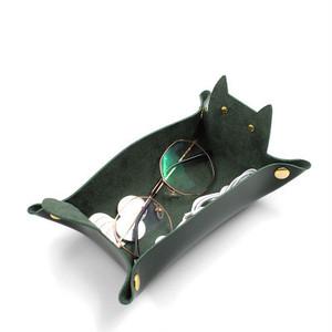 ネコ型 猫 PUレザー コイントレイ 整理 名刺 収納 高級感 アンティーク(緑)
