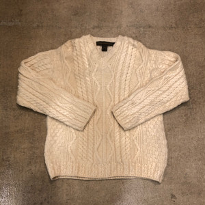 Aran V Neck Cable Sweater ¥8,700+tax
