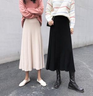 【送料無料】シンプルニットロングスカート全2色