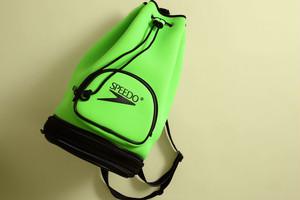 90's スピード プールバッグ ワンショルダー ネオングリーン ウェットスーツ素材 [SPEEDO]