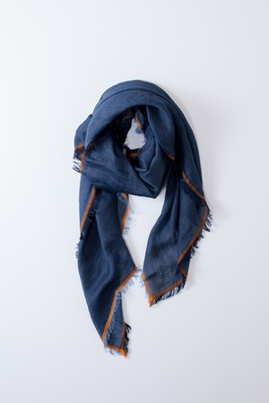 "hatsutoki ""cotton linen scarf""[navy]"