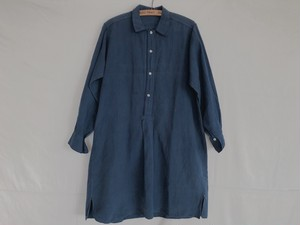 EUROPE ~1950's antique  indigo cotton shirts one piece(as is)