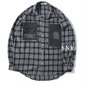 送料無料メンズ\大きいサイズ/ロゴポケット/チェック柄/長袖シャツ