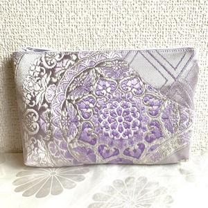 【銀紫の蝶紋】西陣帯のポーチ