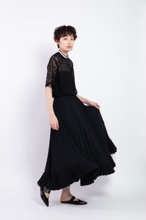 il - 2way pleats skirt - BLACK