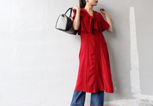 70's Poncho sleeve red dress