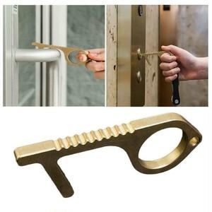 銅の殺菌力!非接触棒 真鍮製ドア、ボタンに触らない、ドアオープナー エレベーターのボタン押し  非接触ツール