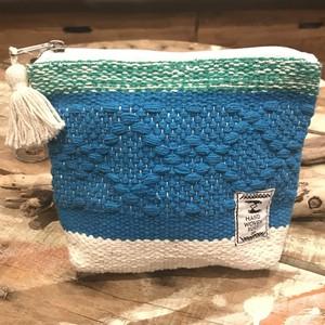 手織りカラフルポーチ〈ブルー〉
