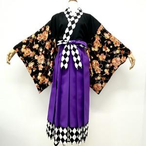 ダイヤ柄切り替え袴(紫)