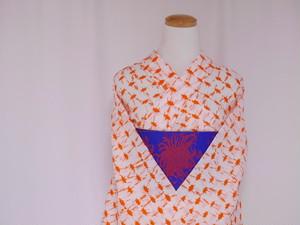 【M-111】丈165 裄67 未使用品 白にオレンジ色の日の出絞り 大きいサイズ 総絞り 絞り 浴衣