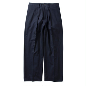 Name. 【ネーム】STRETCH WOOL-GABARDINE WIDE TROUSERS (NAVY)