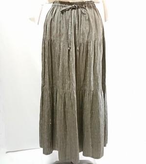草木染手織りシルク ティアードスカート ロング丈