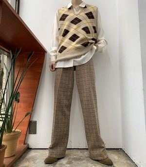 1970s MADE IN USA intuitions houndstooth check wool pants 【5-6】
