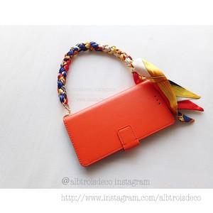 【I-phoneXs,X,etc】スカーフハンドルケース オレンジブルー