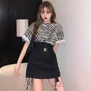 【セット】「単品注文」カジュアル半袖ラウンドネックプルオーバーTシャツ+スカート30278073