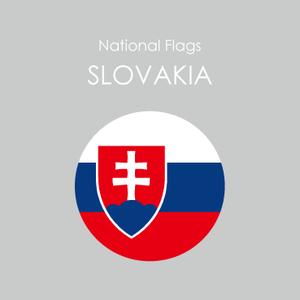 円形国旗ステッカー「スロバキア」