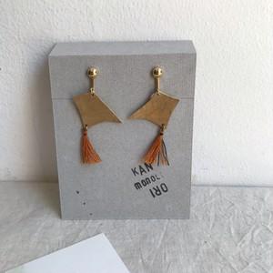 【作家作品】かなおり イヤリング No.845 金属と織りのアクセサリー 一点物【ハンドメイド】