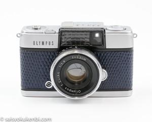 OLYMPUS PEN-D [スネーク柄/ネイビーブルー] テストフィルム&現像代込み!F1.9 32mm オリンパスペンD ハーフ コンパクト 中古フィルムカメラ