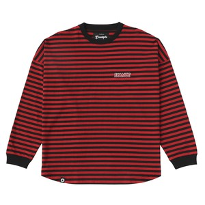 THIN STRIPE LETTER L/S TEE / RED×BLACK