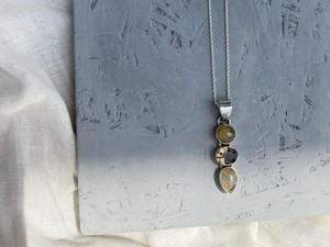 〈vintage silver925〉three stone necklace