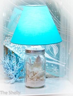 """スタンドランプ Ball Jar with White Shells """"ワイドボトル+ブルーシェード"""""""