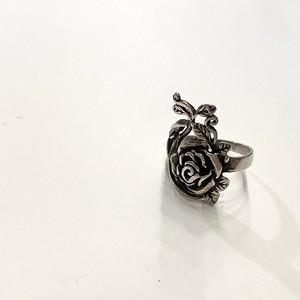 FRANCE vintage silver ring -ROSE- (H)