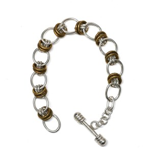 Vintage Mexican Sterling Silver & Brass Chain Link Toggle Bracelet
