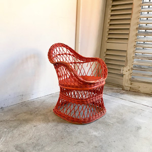 Vintage Paint Rattan Kids Chair 70's オランダ