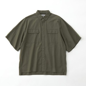 SEERSUCKER WIDE SLEEVES SHIRT - KHAKI