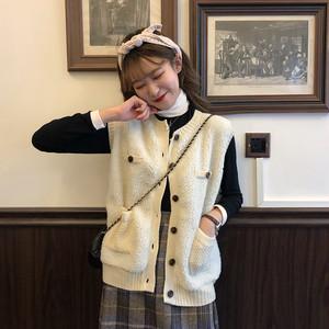 【アウター】配色ノースリーブファッション切り替えラウンドネックシングルブレストベスト25750895