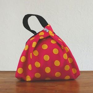 ショルダーバッグ  ピンク&イエロー水玉 x 三角型