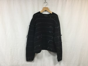"bukht""V-NECK SWEATER-HAND KNITTING-BLACK"""