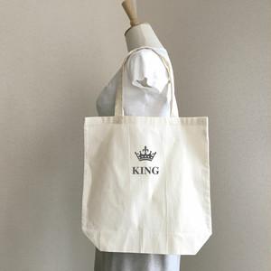 文字が選べる❤︎お名前クラウン グリッターブラック Mサイズ トートバッグ 王冠