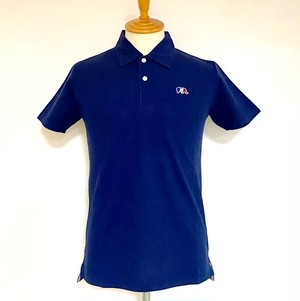 One Point Embroidery Seed Stitch Polo Shirt Navy