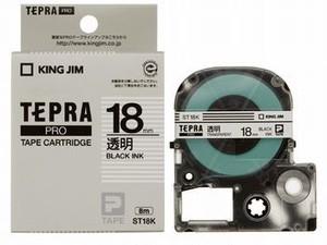キングジム「テプラ」PRO テープカートリッジ 透明ラベル18mm×8m ST18K