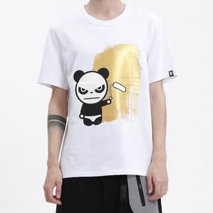 【HIPANDA 】メンズ Tシャツ【NEW】MEN'S GOLD PRINT SHORT SLEEVED T-SHIRT / WHITE