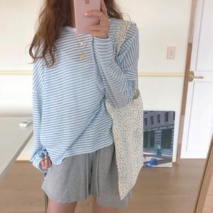 Blue Striped Loose Long Tshirt